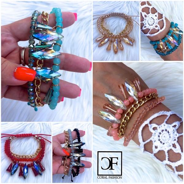 Fashion Schmuck Armband mit XL Strass, Perlen, Kettchen & Zugband in 6 Farben
