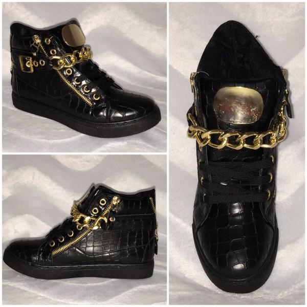 ITALY Style Sneakers mit goldener KETTE - SCHWARZ