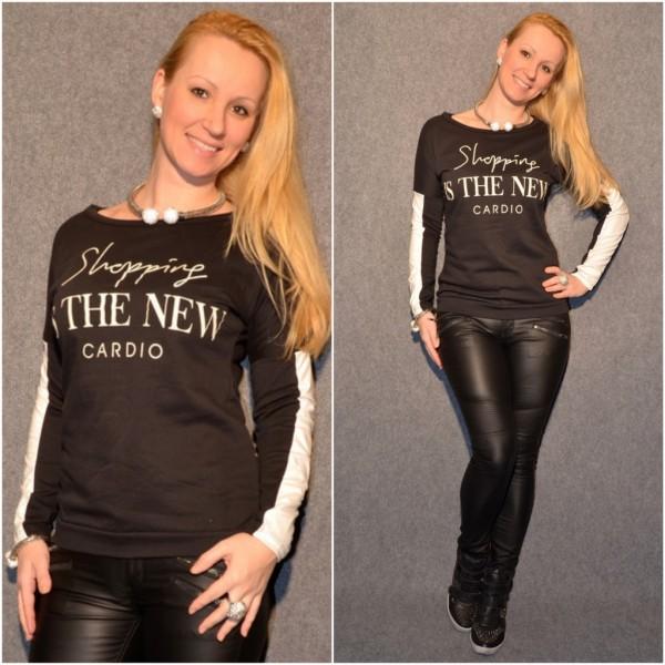 SHOPPING print Shirt / Leichter Pulli SCHWARZ