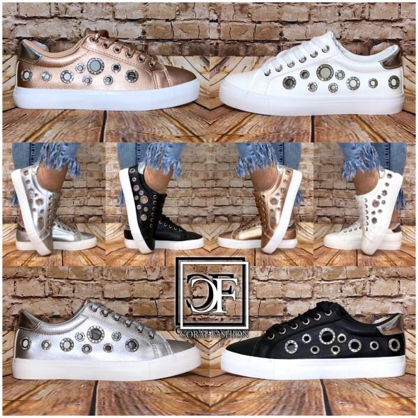 Damen Fashion Glitzer Lowcut Sneakers mit STRASS Lochmuster