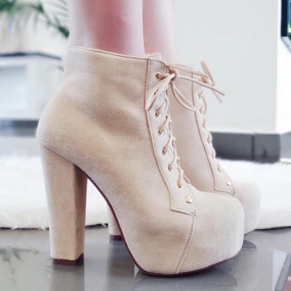 mit Boots Plateau Wildleder Blockabsatz Look Ankle in Stiefeletten Heels High tsxhrCdQ