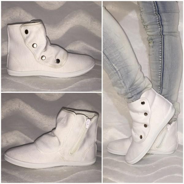 JERSEY Sneakers mit Druckknöpfen WEISS