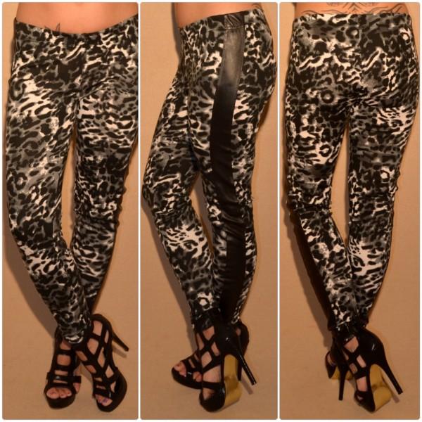 Sexy Leggings mit LEO print & Kustleder Einsatz GRAU