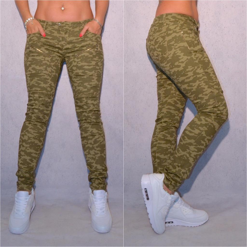 CAMOUFLAGE   Army stretch JEANS mit Deko Zippverschlüssen   Jeans    Damenmode   Mode   Coral Fashion ff2530486f