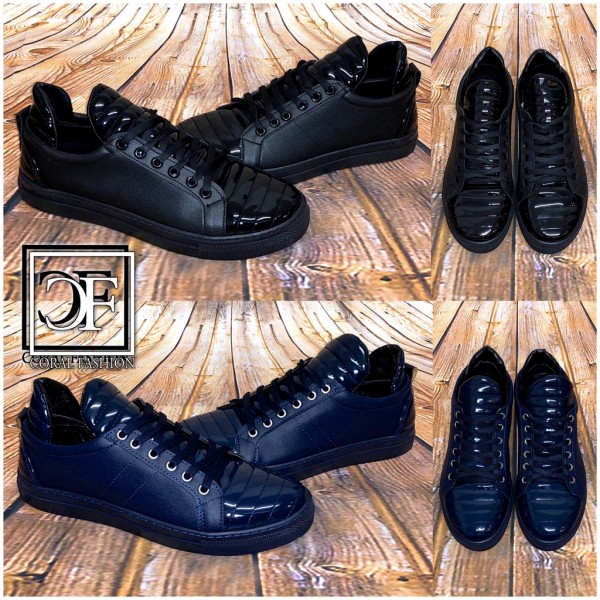 HERREN Fashion LOW CUT Sportschuhe / Sneakers gesteppt SCHWARZ & BLAU