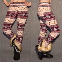 Super warme Winter Leggings mit WINTERMOTIV * ROT