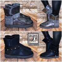 Damen Winter Stiefel Boots Stiefeletten Strass & Sterne mit Kunstfell gefüttert