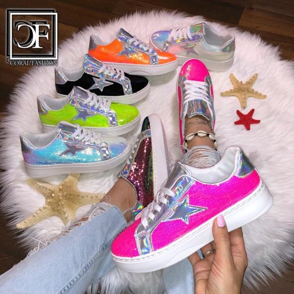 Damen LOW CUT Pailletten HOLO Star Sportschuhe / Sneakers in 6 Farben