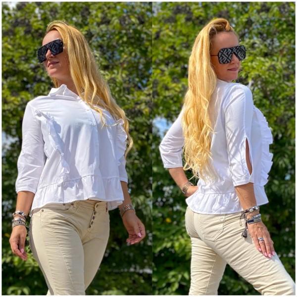 *Einzelstück Italy Damen Rüschen Bluse Hemd Weiß / Marke PLEASE Fashion