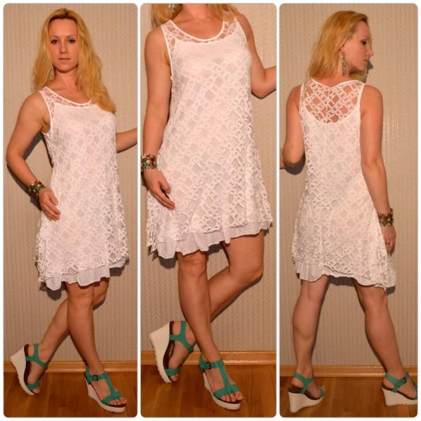 Schönes zwei teiliges Kleid mit KETTEN Muster WEISS