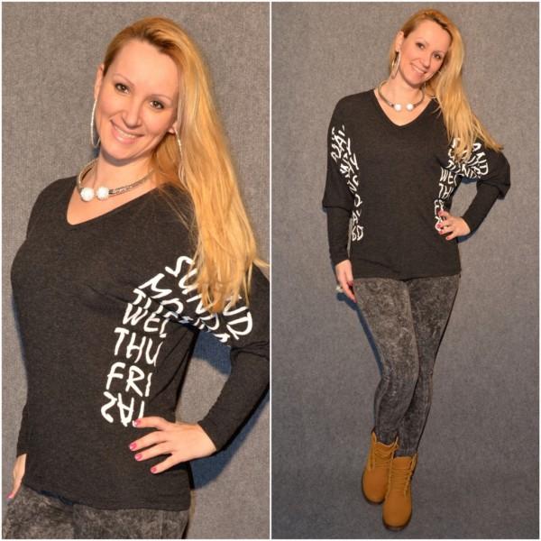 MONDAY print Shirt / Leichter Pulli mit Fledermausärmel SCHWARZ