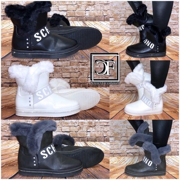 Stiefel Mit Schino Fashion Gefüttert Winter Kunstfell Damen Strass Boots BWrCxode