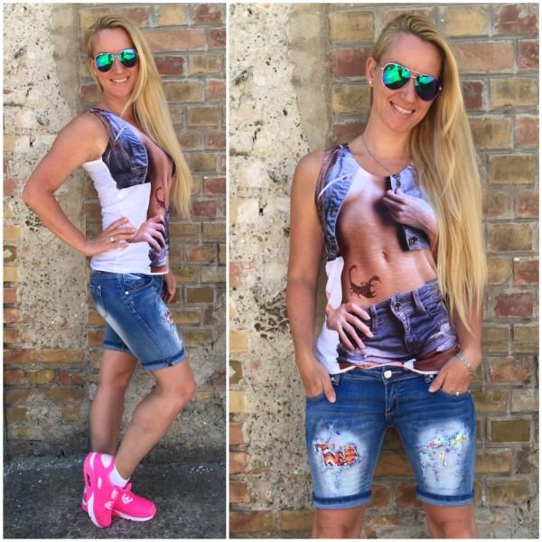 Italy LADY BODY print T-Shirt / Shirt / Träger Top Tanktop WEISS