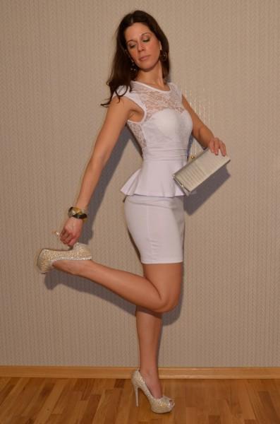 Elegantes Mini Kleid mit Spitze WEISS