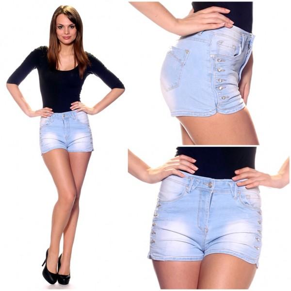 Stretch Jeans SHORTS / HOT PANTS mit seitlichen Knöpfen