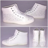 Coole Sneakers mit ALL OVER STRASS Weiß