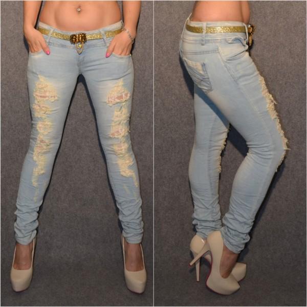 Sexy ICE BLUE Destroyed stretch Jeans mit GOLDENEM Gürtel