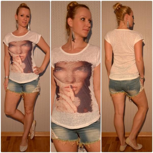 Stylisches Shirt Modell: Schleier LADY mit Ring WEISS
