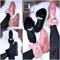 Kuschelige Winter Fashion Sneakers mit Perlen besetzt / gefüttert