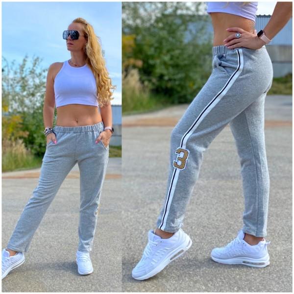 Italy Damen stretch Sweat Hose mit seitlichem Streifen GRAU / Marke PLEASE Fashion