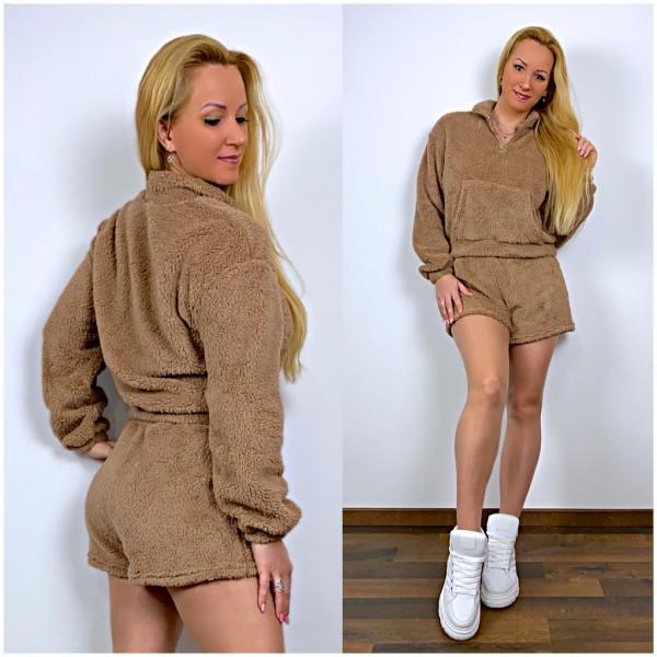 Damen TEDDY Freizeitanzug Set 2 Teiler Sweatshirt Pullover + Shorts Braun