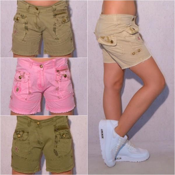 KINDER Mädchen Fashion Bermuda Shorts kurze Hose mit Stickerei