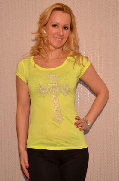 Kurzarm Shirt mit Strass KREUZ / NEON GELB