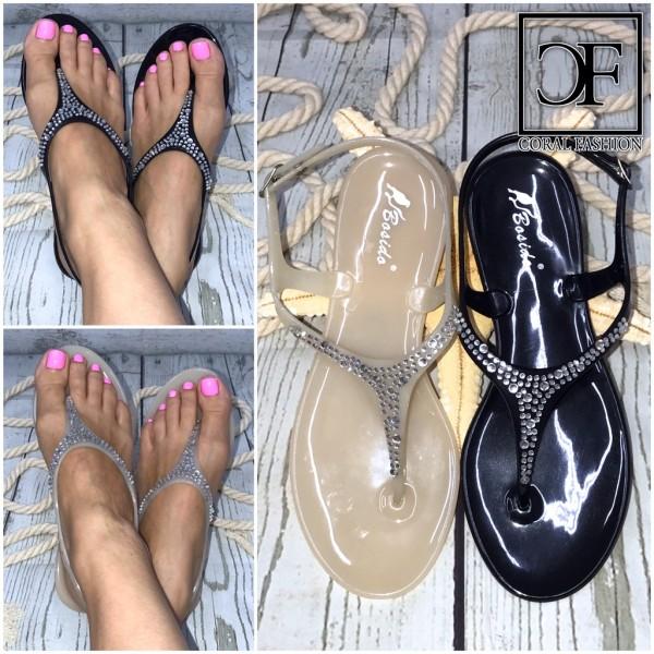 Zehentrenner Riemchen Sandalen / Sandaletten mit Glitzer STRASS