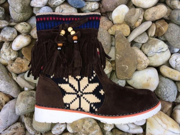 AKTION!!! - Indianer Stil Stiefeletten mit Zippverschluss / gefüttert KAFFEE