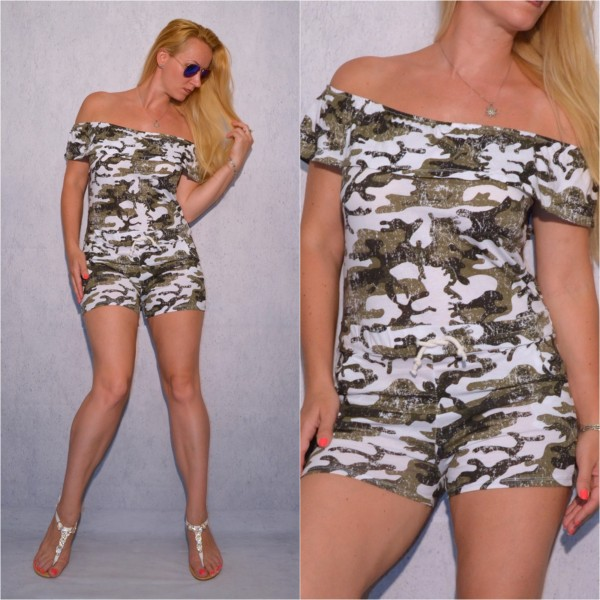 Jersey Shorty OVERALL / Jumpsuit weiß CAMOUFLAGE
