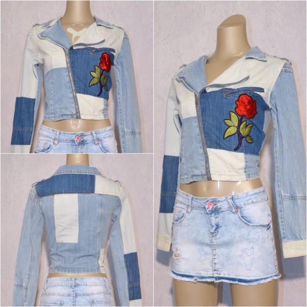 Coole Damen Jeans Denim Jacke mit Zippverschluss in Patchwork Design mit Blume Applikation Blau
