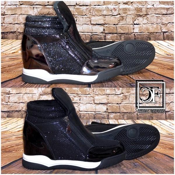 Fashion Damen Zipp Sportschuhe Sneakers Glänzend mit erhöhter Innensohle Keil Keilsneakers gefüttert