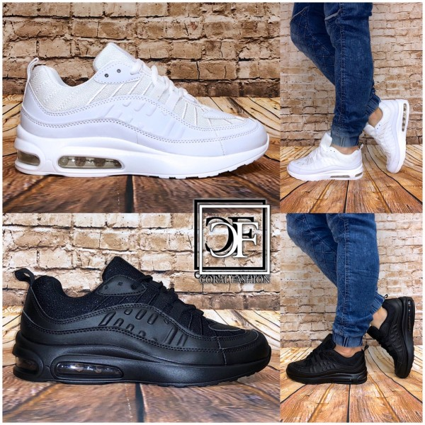 Unisex BASIC Color Double LUFT Sportschuhe Sneakers Damen & Herren / Black & White