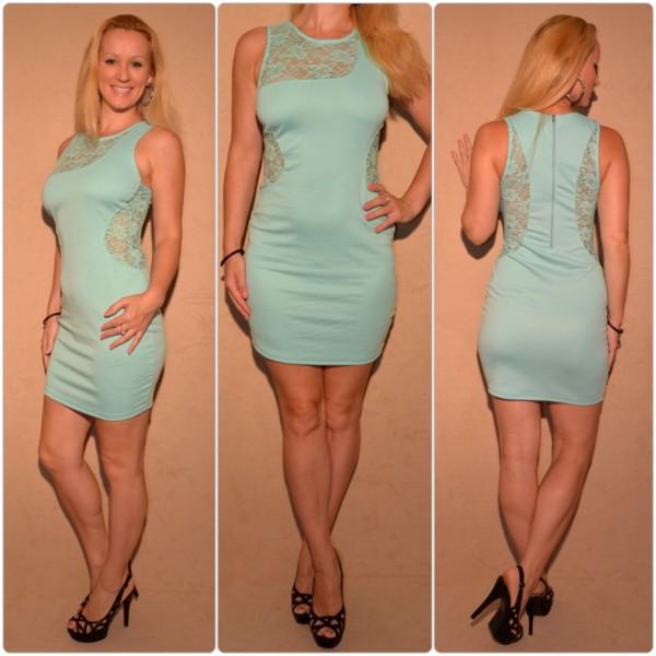 Mini Kleid mit Spitzeneinsätzen MINZGRÜN