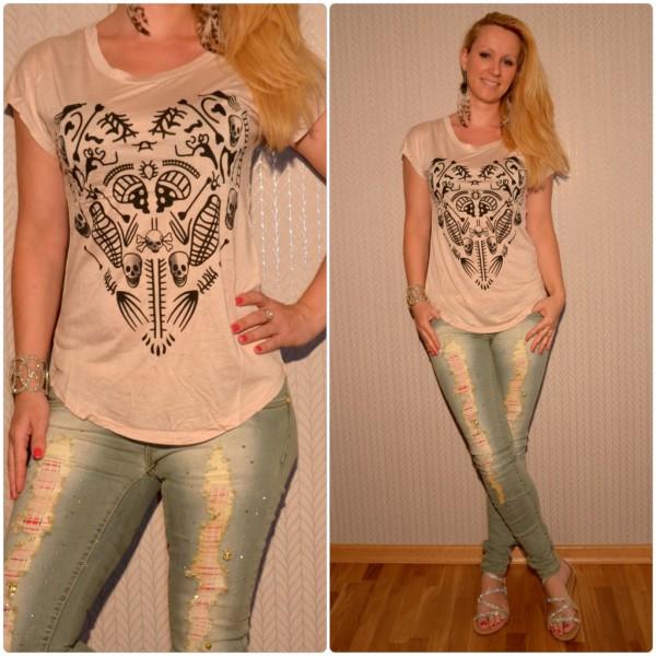 Stylisches Shirt Modell: HERZ / TOTENKOPF Print BEIGE