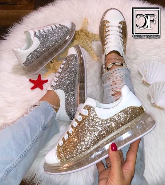 Trend Full LUFT Damen Sportschuhe / Sneakers mit all Over GLITZER