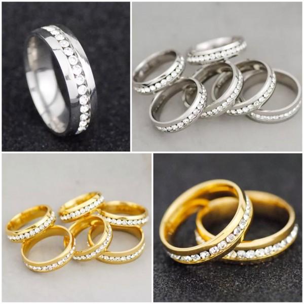 Bling Edelstahl Ring Gold & Silber mit Strass Steinen Stainless Steel
