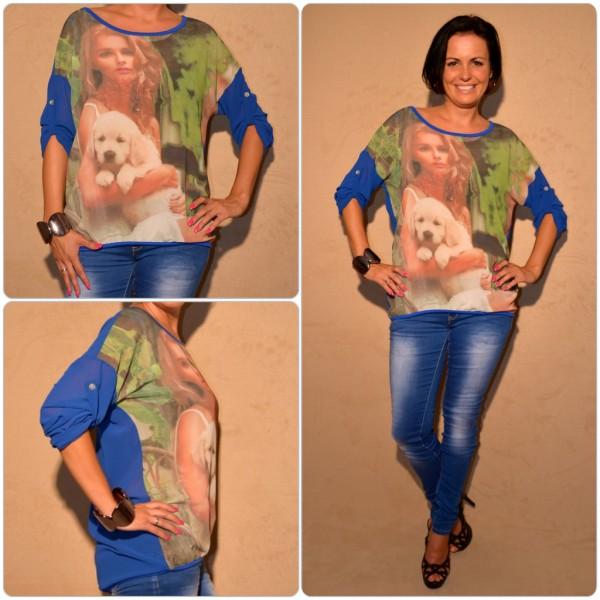 Luftige Tunika Modell: LADY mit WELPE BLAU