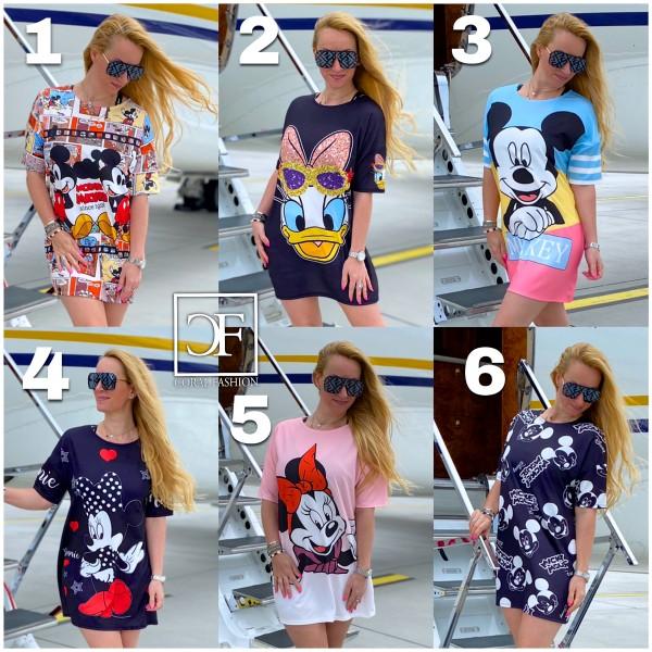 Italy Damen Mickey Kleid Tunika Longshirt / 6 verschiedene Modelle
