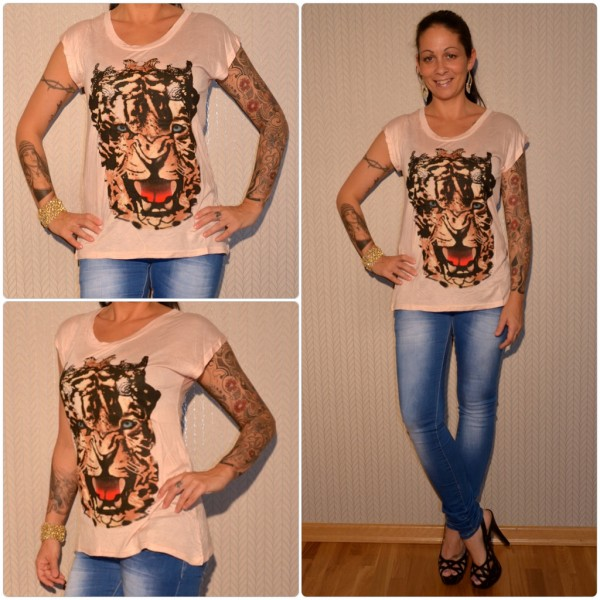 Stylisches Shirt Modell: TIGER Kopf ROSA
