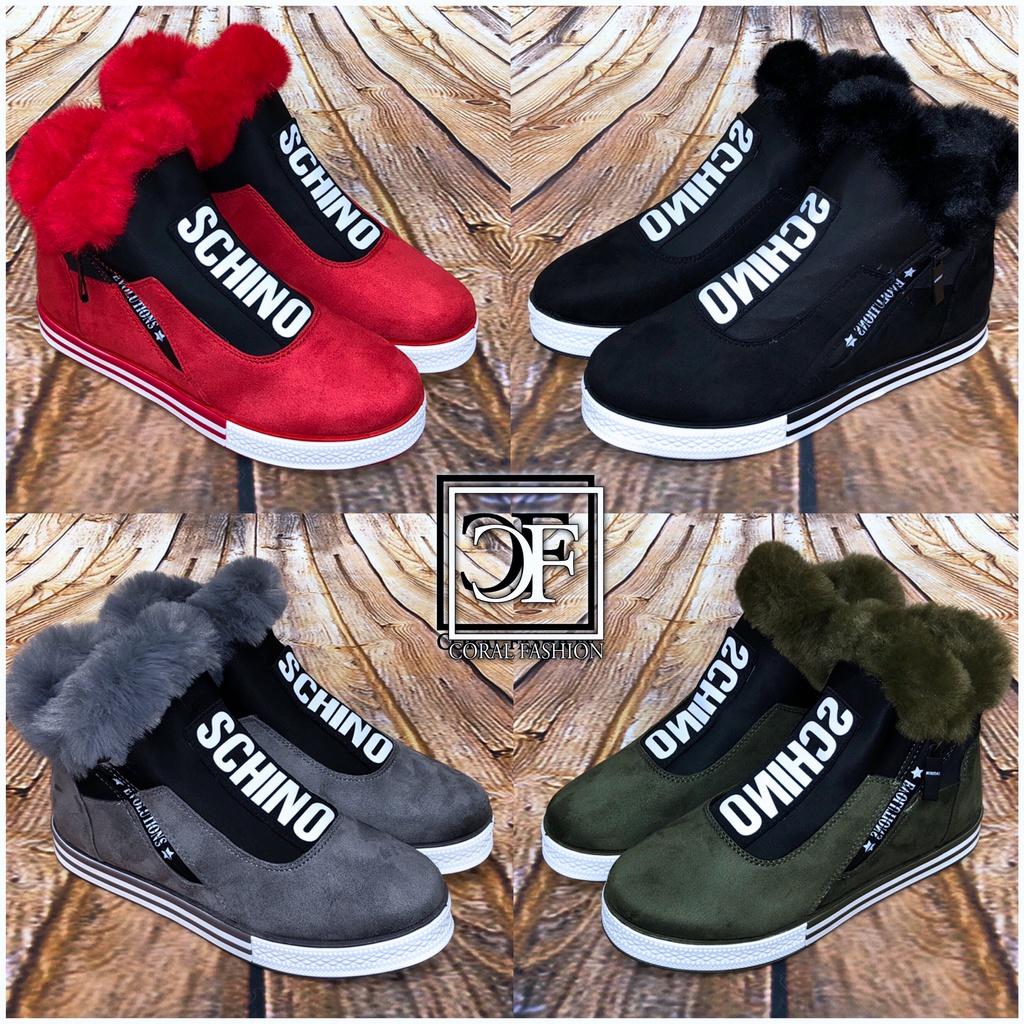 Herbst Winter SCHINO SPORT Fashion Damen Sneakers Boots mit seitlichem Zipp gefüttert