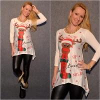 Lässige Tunika MERRY CHRISTMAS / Weihnachten & Rentier WEISS