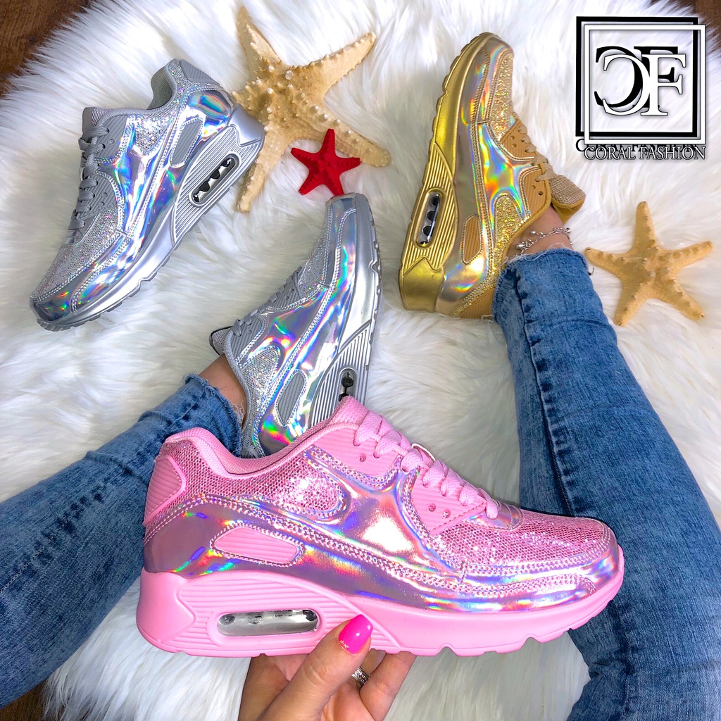 finest selection b13f0 0ed24 HOLO glanz LUFT Damen Sportschuhe / Sneakers mit GLITZER Rainbow