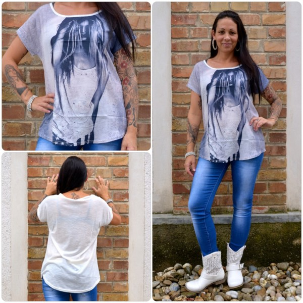 Stylisches Shirt Modell: LADY Haare WEISS