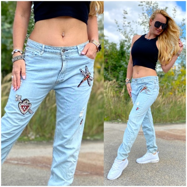*Einzelstück Italy Damen Denim JEANS Hose mit Strass besetzt BLAU / Marke PLEASE Fashion