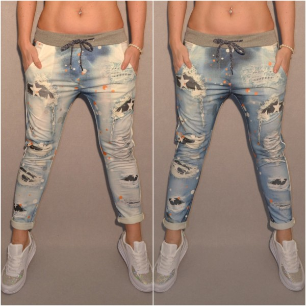 Italy Denim LOOK Sweathose mit STARS / Destroyed print