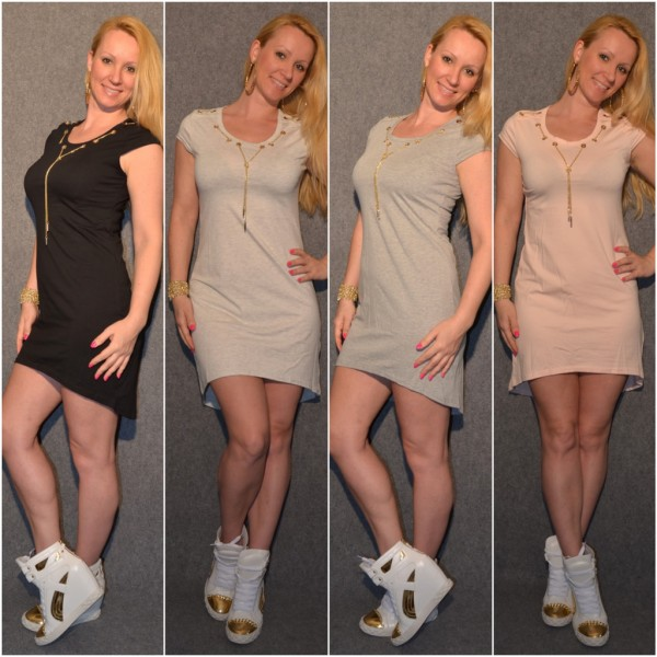 VOKUHILA Jersey Kleid mit goldener Dekokette