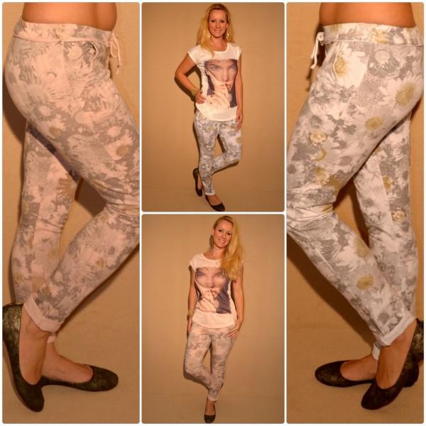 Fashion Sweathose mit Blumenprint WEISS