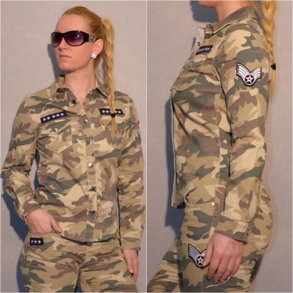 Damen Stretch CAMOUFLAGE / Army / Militär Hemd / Bluse mit Applikationen