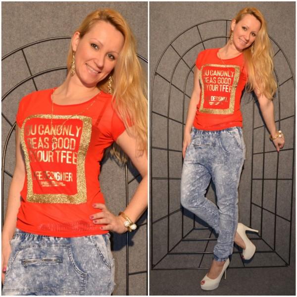 LIFE DESIGNER Shirt mit goldenem print ROT